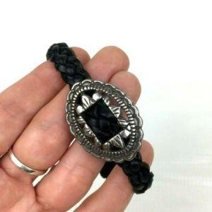 Brighton Vintage Retired Black Leather Bracelet